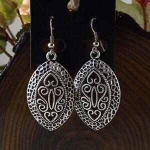 Oval Dangle Earrings Ethnic Tribal Aztec Hippy Boho Indian Silver Tibetan