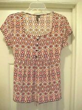 Susan Lawrence Baby Doll Blouse Women Size M Multi-Colored Geometric Cap Sleeves