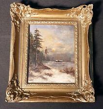 Holandés Paisaje de invierno antik Pintura al óleo Estilo Louis Apol. Monograma