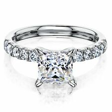 1.89 TCW Princess Cut DVVS1 Moissanite Engagement Ring In 14k White Gold Plated