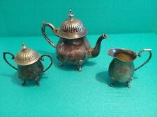 Service à thé 3 pièces en Argent - ( Théière - Sucrier - Pot à lait ) + valise