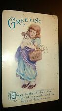 """Antique  """" GREETINGS & WISHES""""  Post Card - Stamped. 1908."""