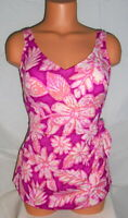 Roxanne Pink Purple Sarong One Piece Swimsuit Womens Bra Size 32C  NWOT