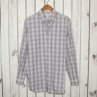 PETER MILLAR Men's Button Front Shirt Gray Purple Plaid 100% Cotton Sz Large