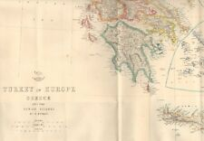 1863  LARGE ANTIQUE MAP - DISPATCH ATLAS- TURKEY IN EUROPE, GREECE, IONIAN ISLAN