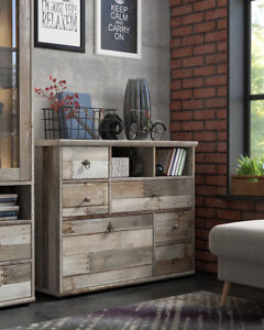 Loft style sideboard, industrial chest of drawers Tarbes, spacious and unique