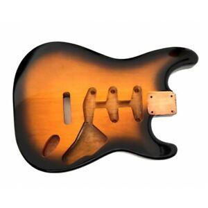 Corps en aulne 3 pièces Vernis style Stratocaster SSS, Sunburst 2 tons