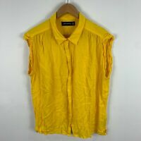 Peter Morrissey Womens Top 18 Plus Yellow Sleeveless Collared Button Front