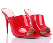 Red Sexy Peep Toe Mules Slip On Slingback Sandals Dress Womens High Heels Shoes