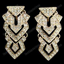 "CLIP ON 2""long CHANDELIER EARRINGS aztec CRYSTAL glass rhinestone GOLD FASHION"