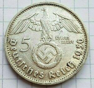 1936 D Germany 5 Mark Nazi WW II Silver Coin XF, RARE Year/Mint