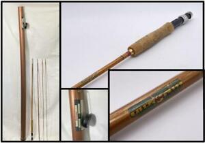"VTG Antique Genuine TONKIN Cane ""GOVERNOR"" 3 Piece Bamboo FLY ROD & Holder Tube"