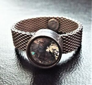 French Contemporary CZ Sterling Silver Mesh Designer Ring FREDERIC DUCLOS France
