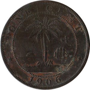 1906 Liberia 1 Cent Coin KM#5 Low Mintage 180K