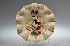 Victorian Hand Painted Iris floral 3-1 Edge Shallow Bowl - Hand Blown