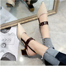 Spring High-Heeled Hollow Coarse Sandals Summer Women's Shallow Casual Shoes New