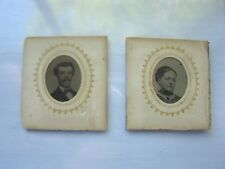 ANTIQUE VINTAGE TINTYPE MINI PORTRAITS - LOT OF 4 - DOUBLE SIDED