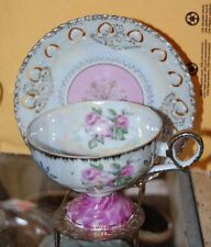 FANCY Vintage Pink White Tea Cup Saucer Roses Iridescent Cut Out Edge Gold Trim