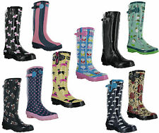 Wyre Valley Festival Wellington Rain Rubber Print Womens Wellie Fashion Boots
