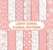 LIGHT CORAL FLORAL PATTERN SCRAPBOOK PAPER - 14 x A4 pages