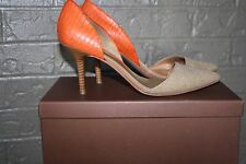 Coach Camille Burlap/Solid Snake Womens Shoes Heels Pumps 10M