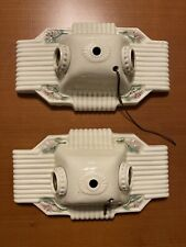 Pair Of Circa 1920s Art Deco Porcelain 2 Bulb Ceiling Electric Light Fixtures