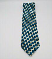 "Valentino Cravatte Men's Neck Tie Blue & Tan Geometric Pattern Silk 56"" x 4"""