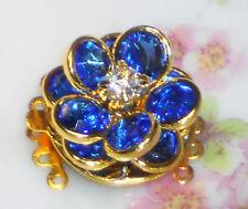 Vintage Clasp Swarovski Elements Five Strand Bracelet Necklace Sapphire #1059K