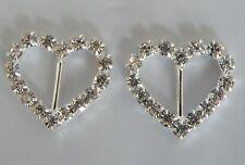 1 Pair Silver Heart Diamonte/Rhinestone Browband Decorations - 18 mm