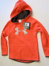NWT Under Armour Girl's Y/M Long Sleeve Hooded Sweatshirt Bright Neon Coral M