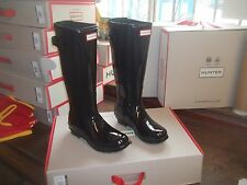 BACK ADJUSTABLE HUNTER WELLIES WELLINGTONS  IN HALIFAX SIZE 6 BLACK GLOSS TALL
