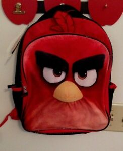 """NWT's ANGRY BIRD With Plush 3D Applique Feather Boys Red/Black Backpack 12"""" x 16"""