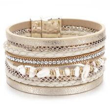 Fashion Women Multilayer Leather Natural Stone Rhinestone Wrap Charm Bracelet