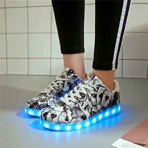 Graffiti Luminous Shoe Casual Colorful Unisex Sneakers Usb Glowing Led Sneakers