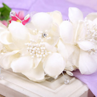 White Cloth Flower Pearl Rhinestone Wedding Bridal Party Crystal Hair Clip Comb