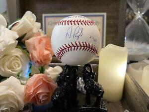 ALBERT PUJOLS/STAN MUSIAL SIGNED ENGRAVED STAT OML BALL 23/25 STEINER/MLB HOLO