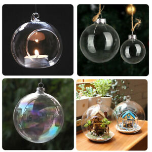 Clear Hanging Glass/Plastic Bauble Empty Fillable Balls Candle Tea Light Holders