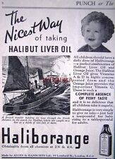 1937 'HALIBORANGE' Halibut Liver Oil Chemist ADVERT #2 - Small Art Deco Print Ad