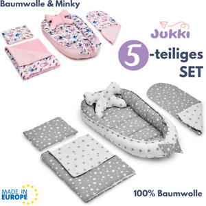 5tlg SET Baby Nestchen Kokon + Matratze 2x Kissen Decke ✨ 100% BAUMWOLLE ✨ MINKY