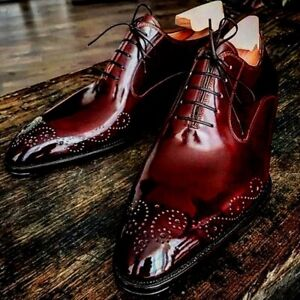 Oxford Burgundy Patent Brogues Toe Genuine Leather Business Laced Up Dress Shoes