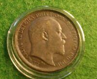AU Nice 1902 United Kingdom Farthing, Sharp Details with Holder. King Edward.