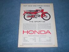 "1965 Honda Sport 65 S-65 Vintage Motorcycle Color Ad ""Hot New One From Honda"""