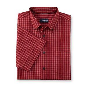 Basic Editions Men's Big & Tall Button-Front Dress Shirt -burgundy  3XL- 4XL
