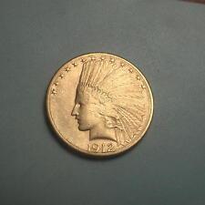 Rare Date 1912-S Gold $10 Indian Head Eagle Coin ~ Au+ ~ (#145)
