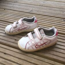 Nike Infant Size 7 Baby Girls Trainers White & Pink Retro Sports Shoes Nursery