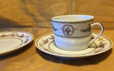 Rare Tharaud LIMOGES Medaillon Floral Pattern Flat Cup & 2 Saucers - France