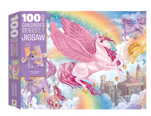 100pc Children's Sparkly Jigsaw UNICORN KINGDOM Ages 6+ By Hinkler - New
