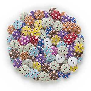 50pcs Dot Pattern Wood Buttons for Sewing Scrapbooking Crafts Making Decor 15mm