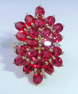 Large 9ct Gold Marquise Ruby & Diamond Cocktail Ring, Size N