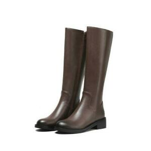 Womens Block Low Heel Round Toe Fur Lined Riding Zipper Knee High Boots Shoes